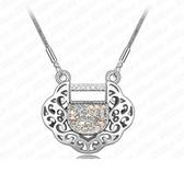 項鍊 925純銀 鑲鑽墜飾-心鎖造型生日情人節禮物女飾品銀飾3色73aj603【時尚巴黎】