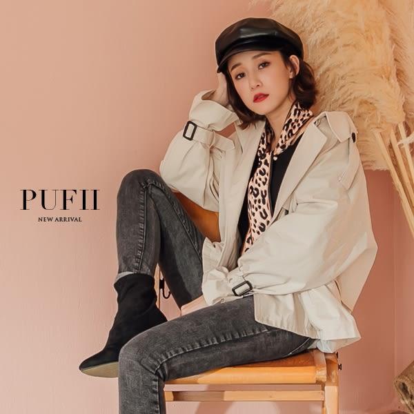 (現貨)PUFII-外套 英倫風翻領雙釦澎袖短版風衣外套夾克 2色-0927 現+預 秋【ZP15225】
