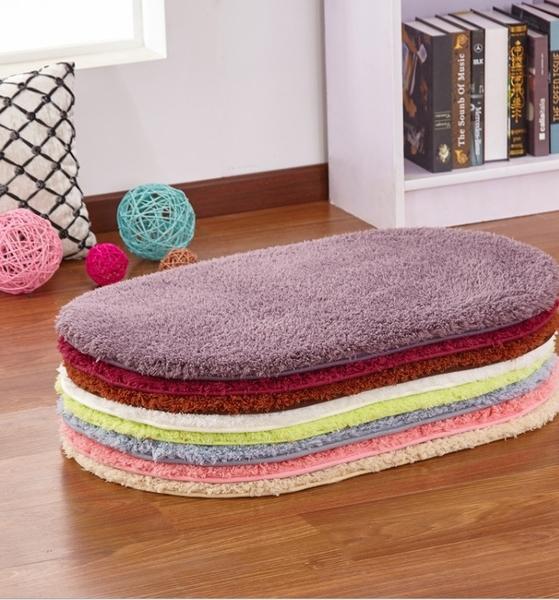 【居家簡約】羔羊絨臥室橢圓地毯 浴室廚房防滑墊 溫馨坐墊腳墊地毯 【H00348】