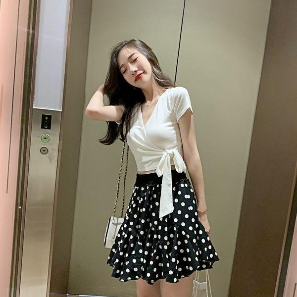 VK旗艦店 韓系綁帶波點裙套裝短袖裙裝