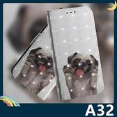 三星 Galaxy A32 5G 彩繪漸層保護套 卡通側翻皮套 雷射3D 支架 插卡 磁扣 附掛繩 手機套 手機殼