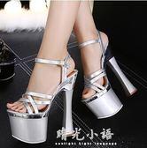 恨天高銀色婚鞋粗跟防水臺模特夜店演出鞋18cm/20公分超高跟涼鞋 晴光小語