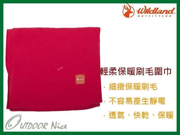 ╭OUTDOOR NICE╮荒野WILDLAND 輕柔PILE保暖圍巾 W2010 嫣紅色 刷毛圍巾 不易產生靜電