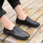 豆豆鞋男士鞋子夏季男鞋英倫皮鞋一腳蹬懶人潮流休閒鞋男 法布蕾輕時尚