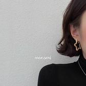耳環 燒花縷空星星耳環Mon-0265-創翊韓都
