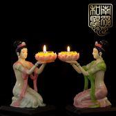 家居室內供佛堂飛天女蓮花燈仙女樹脂酥油燈座蠟燭臺擺件 萬客居