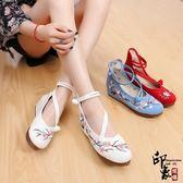 喜鵲登枝繡花鞋布鞋復古中國風漢服鞋內增高女單鞋【印象閣樓】