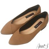Ann'S時髦都會女郎-牛仔織紋顯瘦V口平底尖頭鞋-棕