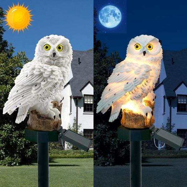 太陽能燈太陽能地插戶外家用庭院花園防水創意貓頭鷹小型LED太陽能燈 【全館免運】