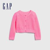Gap女嬰甜美亮色鏤空針織開衫543569-螢光粉
