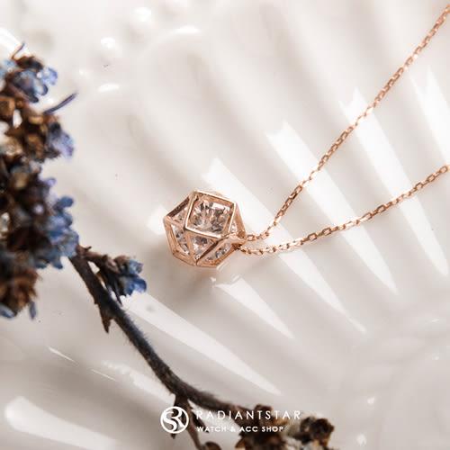 [925純銀]鑽石心玫瑰金鎖骨鍊項鍊【SL370】璀璨之星☆
