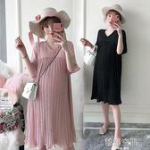 大碼孕婦裝夏裝上衣百褶雪紡孕婦洋裝夏季短袖孕婦裙A字裙