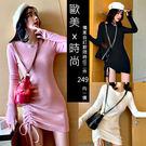 初秋韓國連線氣質名媛夜店洋裝 側抽繩質感連身洋裝 約會必備戰袍