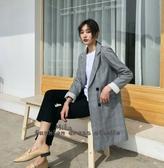 依Baby 春秋裝新款韓版chic格子西裝外套中長款寬鬆休閒長袖小西服