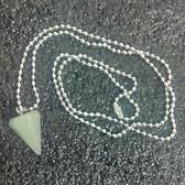 天然晶石 東陵玉 六角錐水晶能量靈擺項鏈