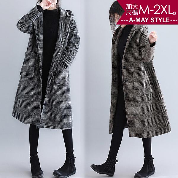 加大碼外套-韓系千鳥格紋連帽仿毛呢大衣(L-2XL)