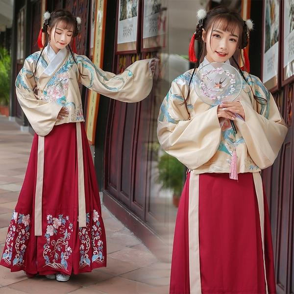 弘羿漢服女冬裝鳳來儀原創改良學生中國風交領襦裙馬面裙套裝