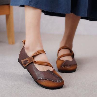 真皮手工鞋 拼色平底鞋 皮帶扣休閒鞋/4色-夢想家-標準碼-0409
