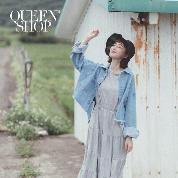 Queen Shop【02050255】銀釦單口袋下鬚邊短版牛仔外套*現+預*