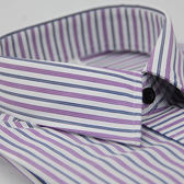 【金‧安德森】白底粉紫藍條紋變化門襟窄版長袖襯衫