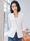西裝外套 薄款七分袖西裝外套女2020夏裝新款白色時尚休閒中袖小西服女短款 3c公社