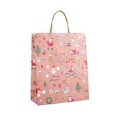 【BlueCat】聖誕卡通繪風牛皮手提袋(25*21cm)