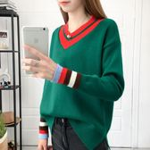 18春秋正韓V領套頭打底外套紅色毛衣女寬鬆百搭時尚針織衫潮 巴黎時尚
