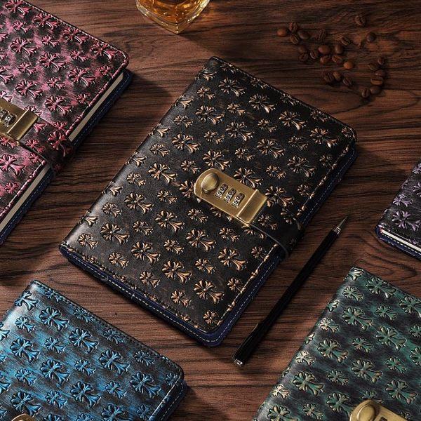 雙十二狂歡購復古禮品密碼本帶鎖日記本商務創意手賬記事本文具筆記本子手帳本