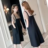 孕婦夏裝套裝時尚新款孕婦褲子夏季寬鬆薄款春秋裝背帶褲外穿