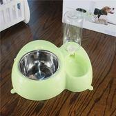 寵物自動飲水器 不銹鋼貓碗狗碗 喂食器狗盆 狗狗雙碗飯碗食盆  晴光小語