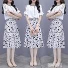 兩件套洋裝 裙子女網紅套裝洋氣時髦新款夏裝雪紡連身裙碎花半身裙兩件套 韓菲兒
