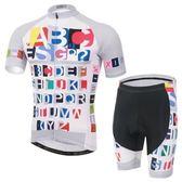 自行車衣-(短袖套裝)-英文字母透氣排汗男單車服套裝73er45【時尚巴黎】
