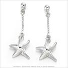 耳環 正白K飾「立體海星」耳針式 *一對價格*