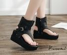 厚底涼鞋 羅馬鞋 側邊皮帶扣夾腳  楔型涼鞋 大尺碼35-40*Kwoomi-A71