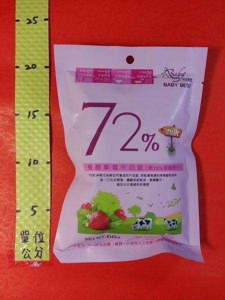 314758#72% 極醇 草莓牛奶錠 66g#貝比斯特