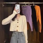 針織開衫 v領紫色短款開衫爆款毛衣小外套女2021年秋冬新款法式針織衫上衣 嬡孕哺