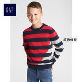 Gap男童 條紋圓領長袖針織衫 360863-紅色條紋