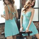睡衣 睫毛裸背錦咏棉睡衣-睡裙+內褲(三色:黑色、藍綠、酒紅)-性感、居家服_蜜桃洋房
