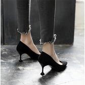 秋季新品貓跟鞋女尖頭細跟高跟鞋正韓百搭學生黑色中跟單鞋子