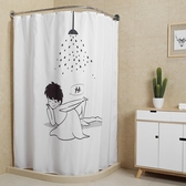 浴簾套裝浴室簾弧形浴桿免打孔衛生間浴簾洗澡帳防水加厚保暖浴罩 潮流衣舍