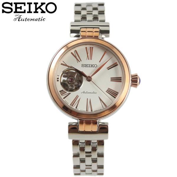 【萬年鐘錶】SEIKO PRESAGE 精工4R38 都會機械女錶  透明底蓋 玫瑰金x白 34mm 4R38-00Z0P(SSA862J1)