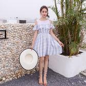 VK旗艦店 韓國風荷葉邊假兩件露肩高腰甜美拼接短袖洋裝