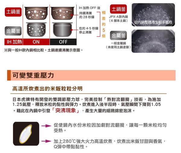 【信源電器】6人份 【TIGER虎牌 頂級款土鍋壓力IH炊飯電子鍋】JPX-A10R/JPXA10R