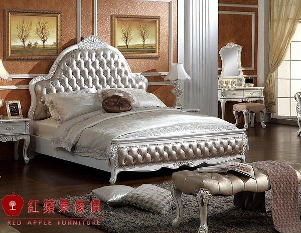 [紅蘋果傢俱] WH 富貴花系列 新古典 實木雕花 歐式床 六尺 雙人 床架 床台 工廠直營