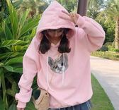 EASON SHOP(GU3675)立體貓咪刺繡連帽圓領長袖T恤大學T女上衣服素色粉色長版韓版寬鬆卡通加絨刷毛帽T