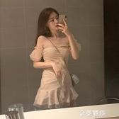 夏季新款女士韓版百搭仙女性感網紗拼接流行露肩收腰氣質洋裝子 極簡雜貨