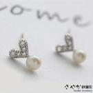 【Sayaka紗彌佳】純銀小清新風格邂逅甜心女孩珍珠鑲鑽耳環