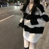 毛衣女2019新款寬鬆條紋V領長袖針織衫秋季慵懶風中長款套頭上衣 嬌糖小屋