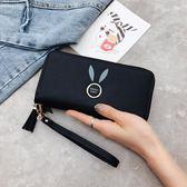 女士手拿錢包長款新款韓版純色大容量拉鏈零錢包女手腕手機包    韓小姐