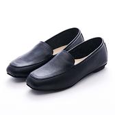G.Ms. MIT系列-牛皮樂福休閒懶人平底鞋-黑色